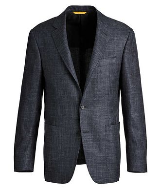 Canali Kei Crosshatched Wool, Silk, and Linen Sports Jacket