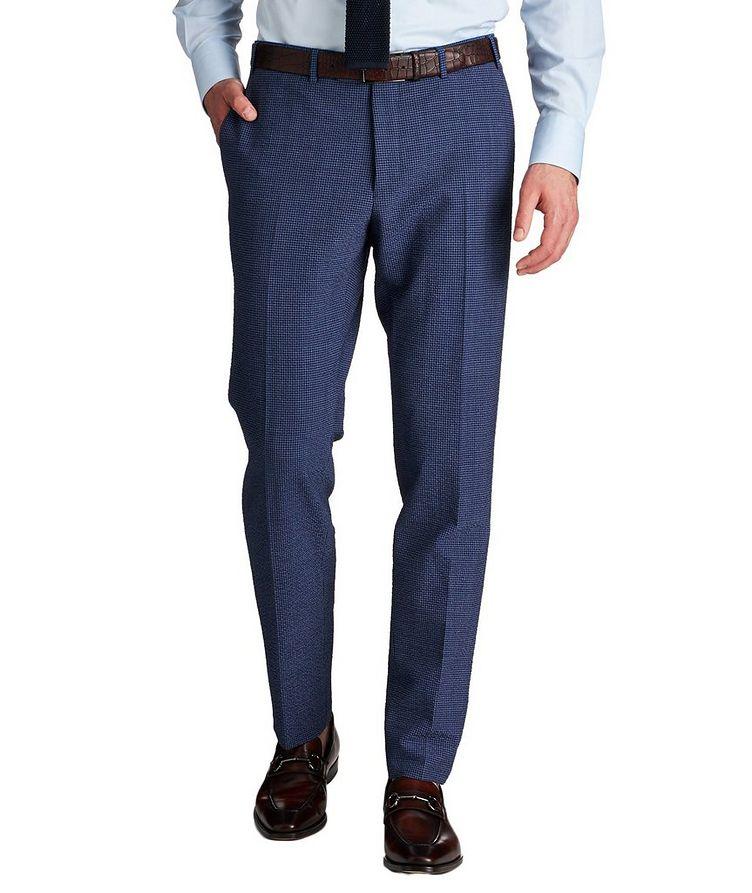Kei Slim Fit Gingham Checked Seersucker Dress Pants image 0