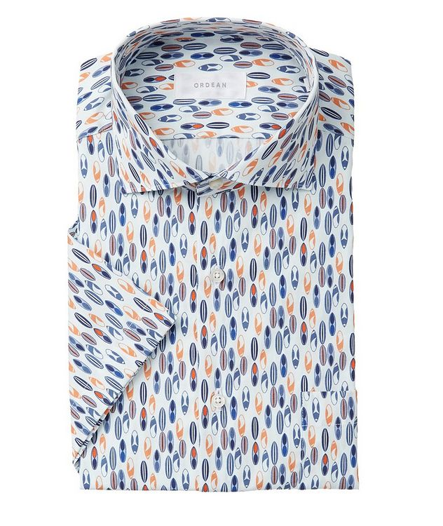 Short-Sleeve Surfboard-Printed Cotton Shirt picture 1