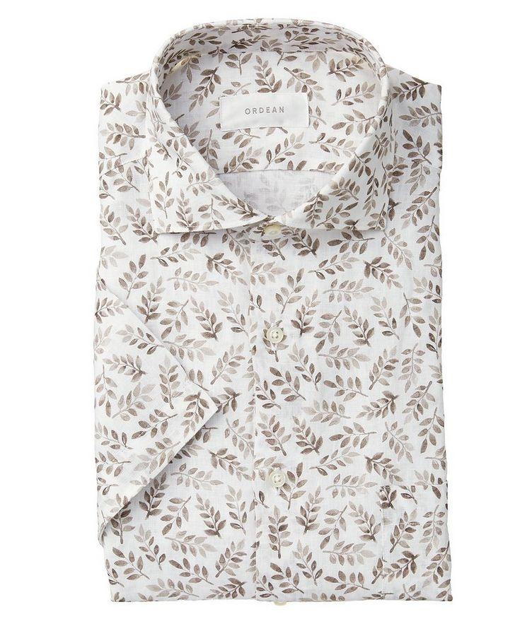 Short-Sleeve Botanical-Printed Linen Shirt image 0
