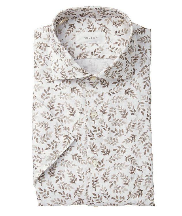 Short-Sleeve Botanical-Printed Linen Shirt picture 1
