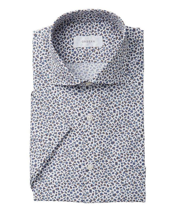 Short-Sleeve Mini Botanical-Printed Cotton Shirt image 0