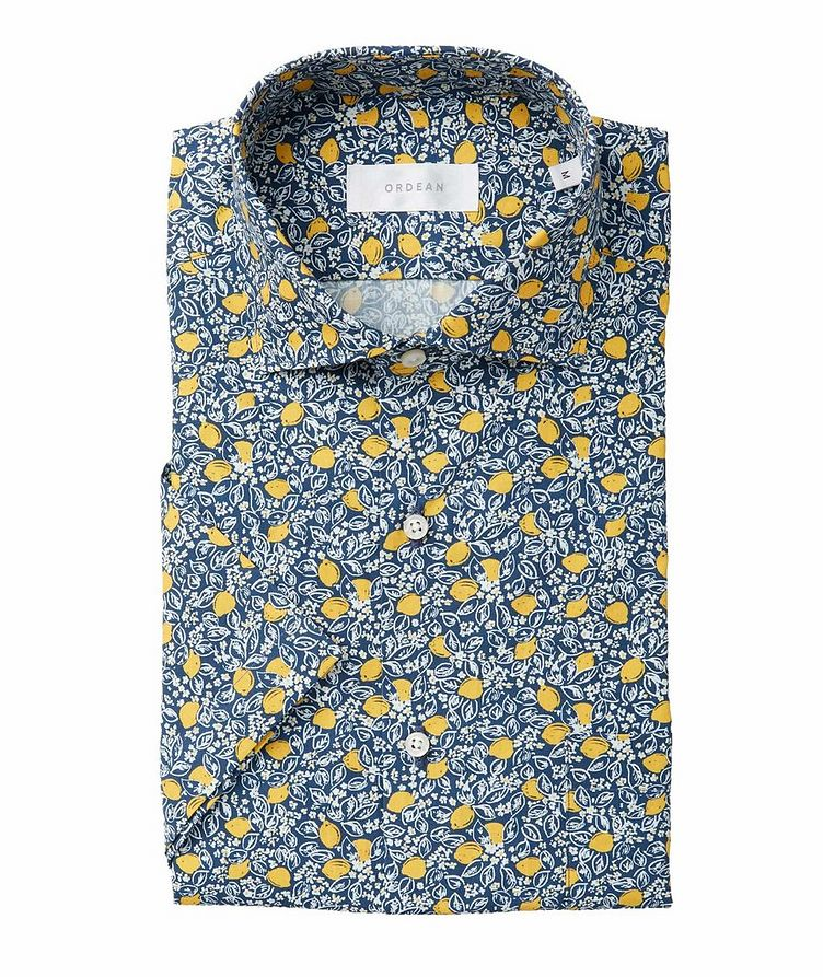 Short-Sleeve Lemon Vine-Printed Cotton Shirt image 0