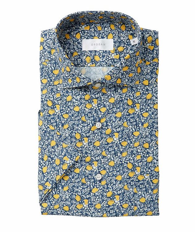 Short-Sleeve Lemon Vine-Printed Cotton Shirt picture 1