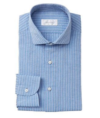 Ordean Striped Seersucker Cotton-Linen Shirt