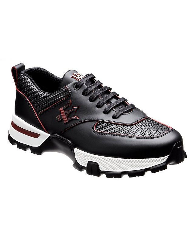 Cesare Maserati Pelle Tessuta Sneakers picture 1