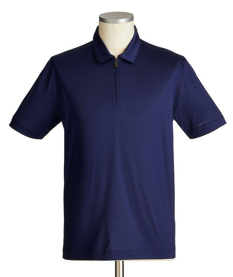 Polo en coton à demi-glissière image 0