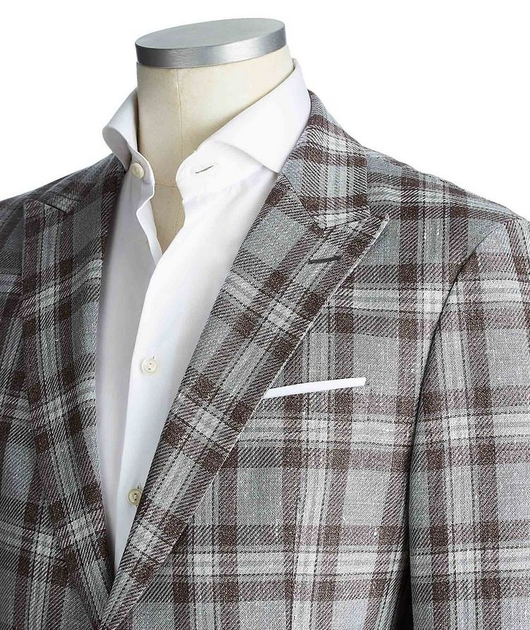Slim Fit Checked Linen-Cotton Sports Jacket image 1