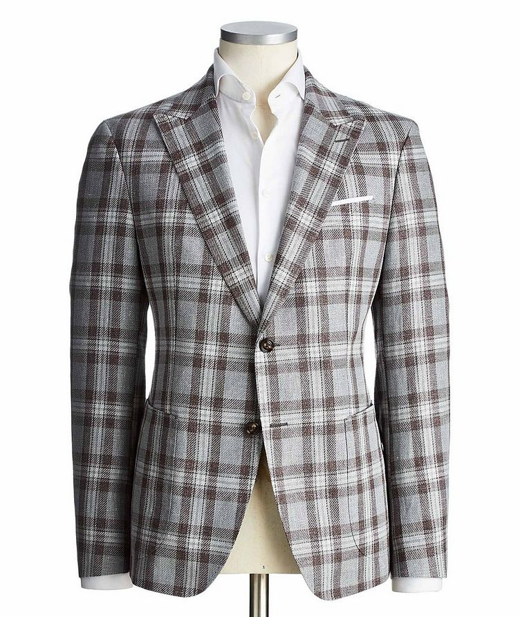 Slim Fit Checked Linen-Cotton Sports Jacket image 0