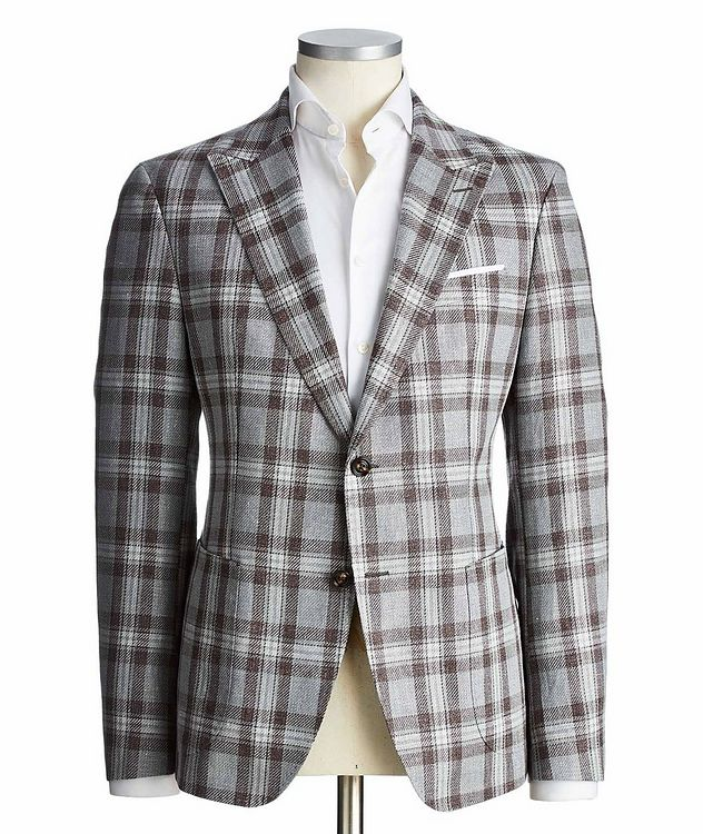 Slim Fit Checked Linen-Cotton Sports Jacket picture 1