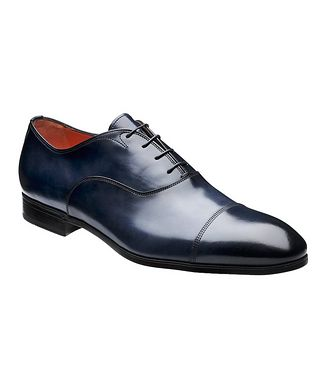 Santoni Burnished Cap-Toe Oxfords