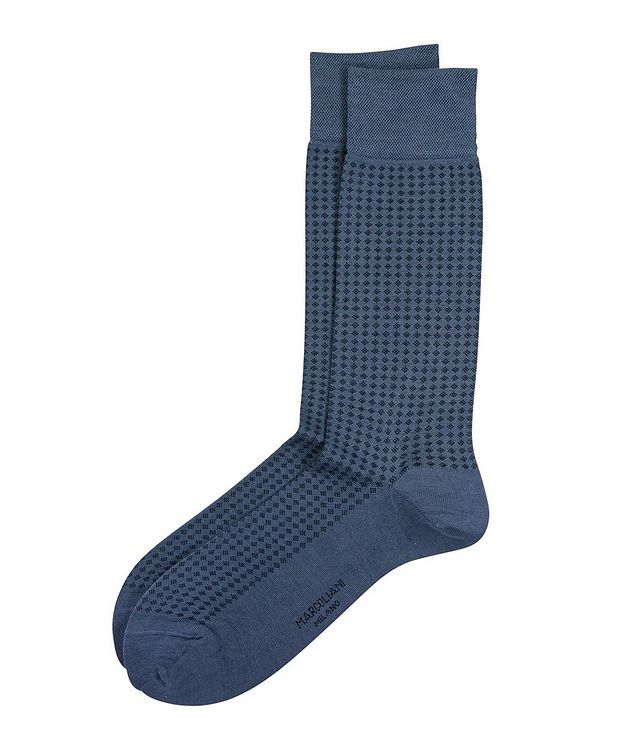 Micro-Diamond Mercerized Cotton-Blend Socks picture 1