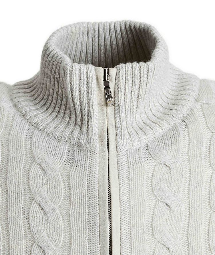 Zip-Up Cashmere Knit Sweater  image 2