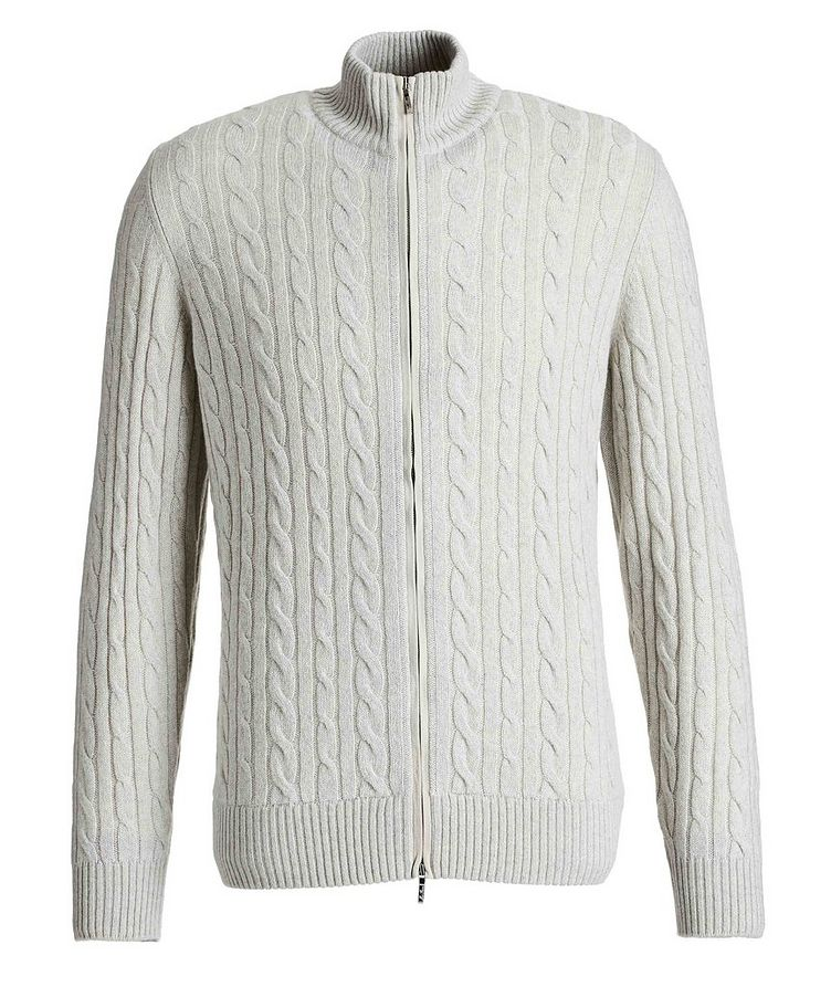 Zip-Up Cashmere Knit Sweater  image 0