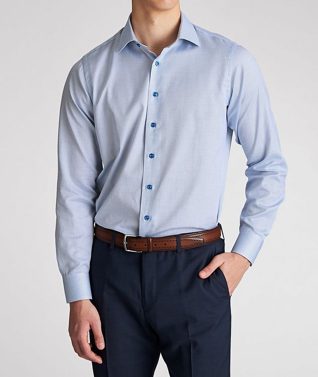 Contemporary Fit Micro-Checked Cotton Dress Shirt picture 2