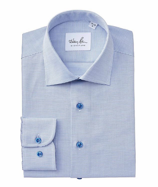 Contemporary Fit Micro-Checked Cotton Dress Shirt picture 1