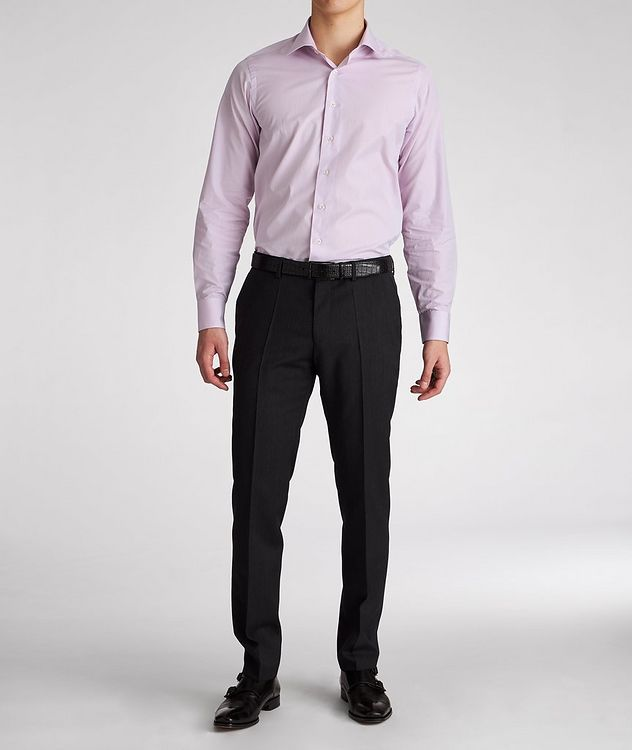 Contemporary Fit Micro-Checked Cotton Dress Shirt picture 5
