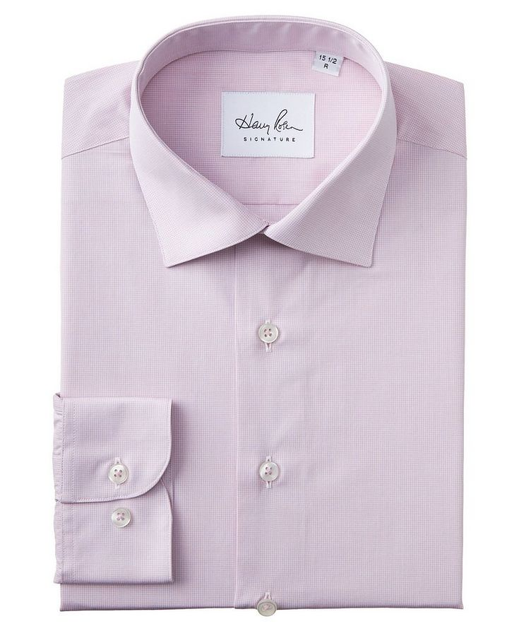 Contemporary Fit Micro-Checked Cotton Dress Shirt image 0