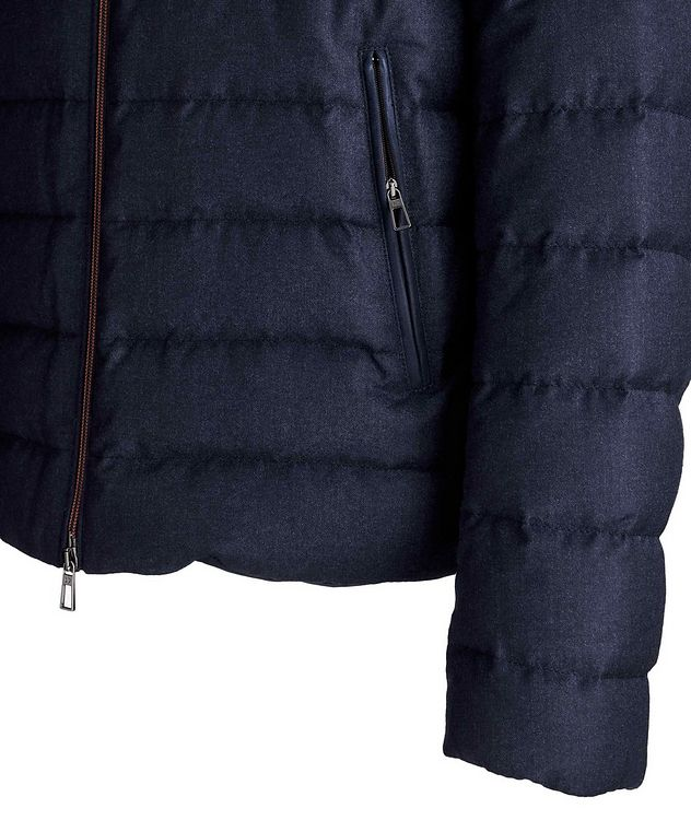 Quilted Wool-Silk Flannel Bomber Jacket picture 3