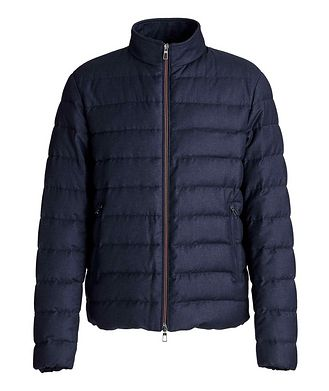 Loro Piana Quilted Wool-Silk Flannel Bomber Jacket