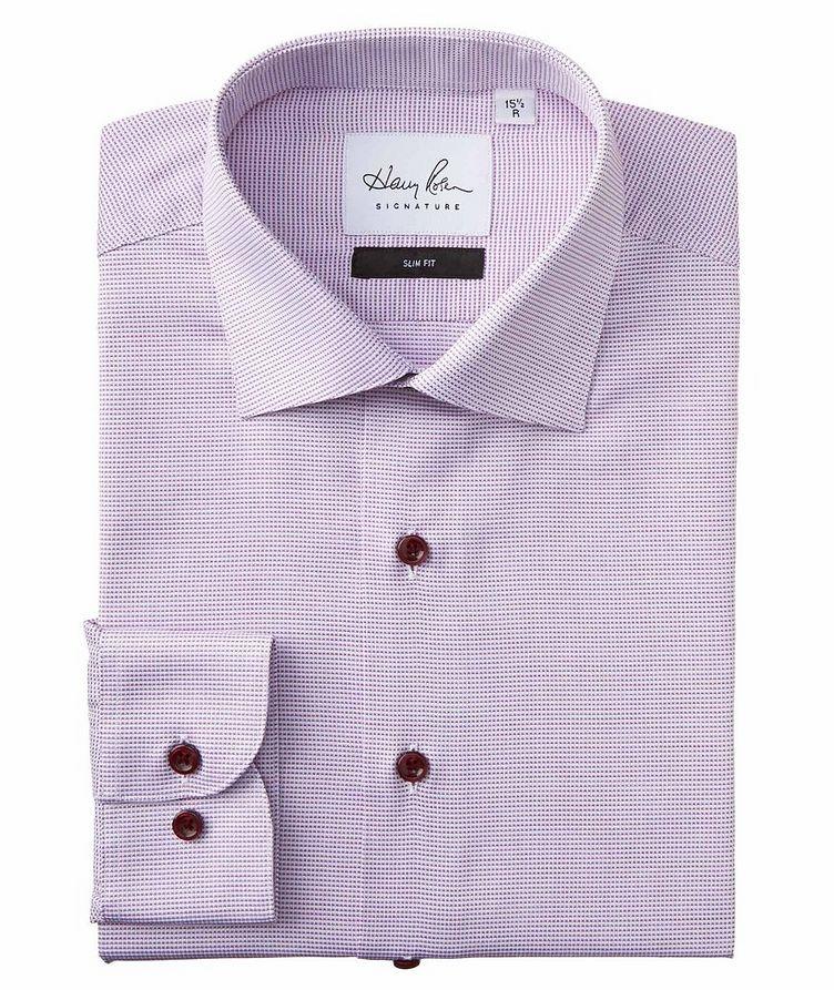 Slim Fit Micro-Checked Cotton Dress Shirt image 0