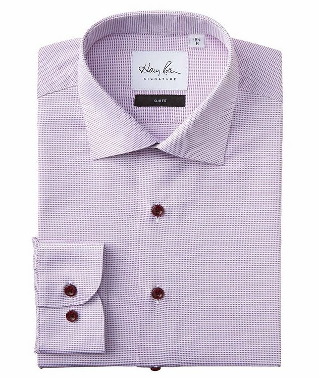 Slim Fit Micro-Checked Cotton Dress Shirt picture 1