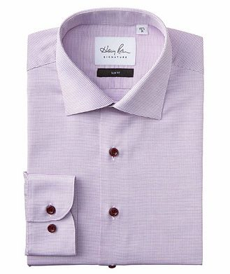 Harry Rosen Signature Slim Fit Micro-Checked Cotton Dress Shirt