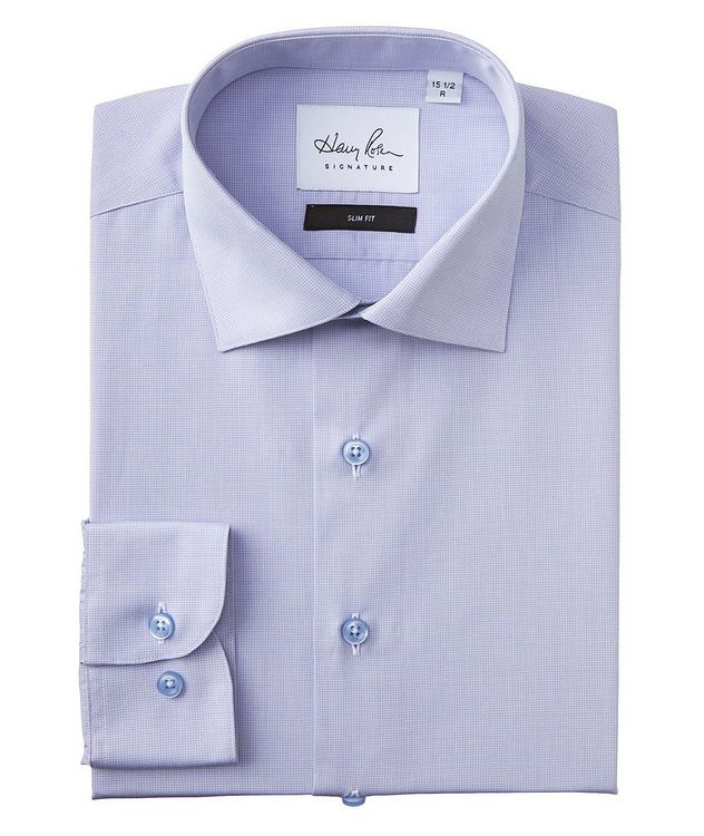 Slim Fit Micro-Grid Cotton Dress Shirt picture 1