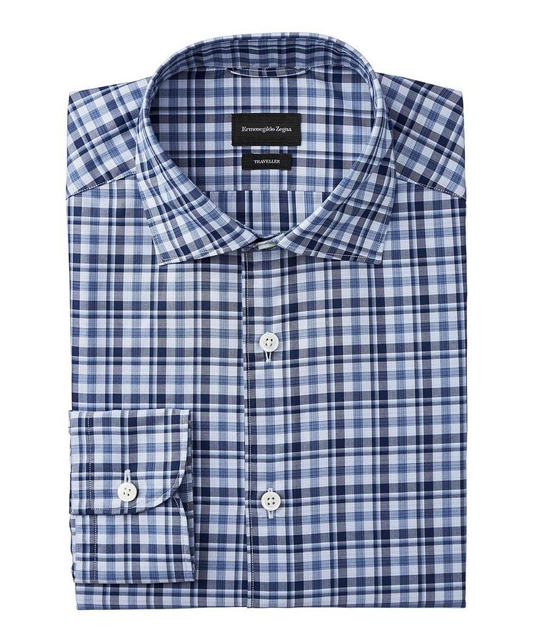 Tailored Fit Checked Traveler Dress Shirt image 0