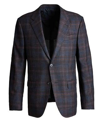 Ermenegildo Zegna Milano Easy Checked Wool, Silk, Cashmere, and Linen Sports Jacket