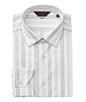 Ermenegildo Zegna Contemporary Fit Striped Couture Dress Shirt