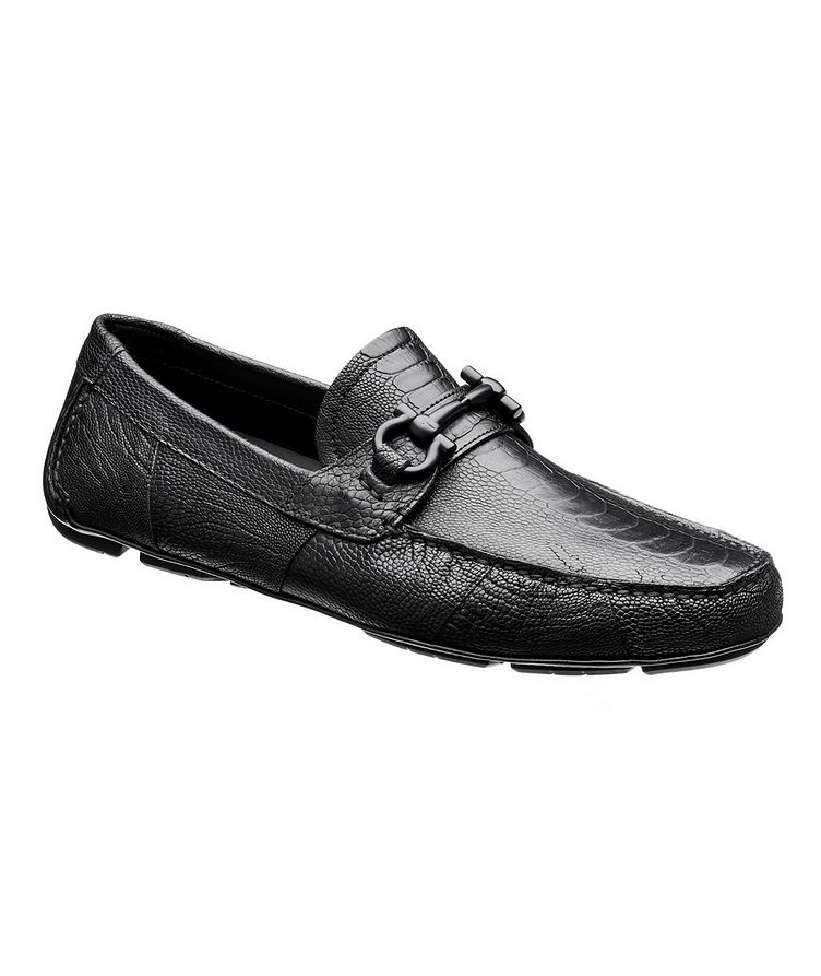 Ostrich Leather Gancini Bit Driving Shoes image 0