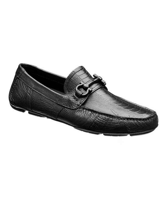 Ostrich Leather Gancini Bit Driving Shoes picture 1