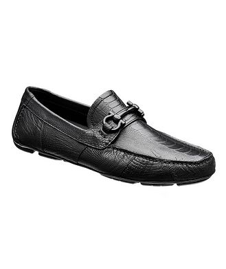 Salvatore Ferragamo Ostrich Leather Gancini Bit Driving Shoes