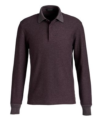 Ermenegildo Zegna Knit Cotton-Wool Long-Sleeve Polo