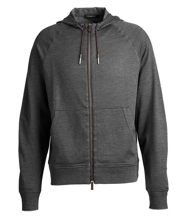Zip-Up Wool, Silk, and Cotton Hoodie picture 1