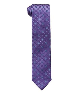 Canali Neat Printed Silk Tie