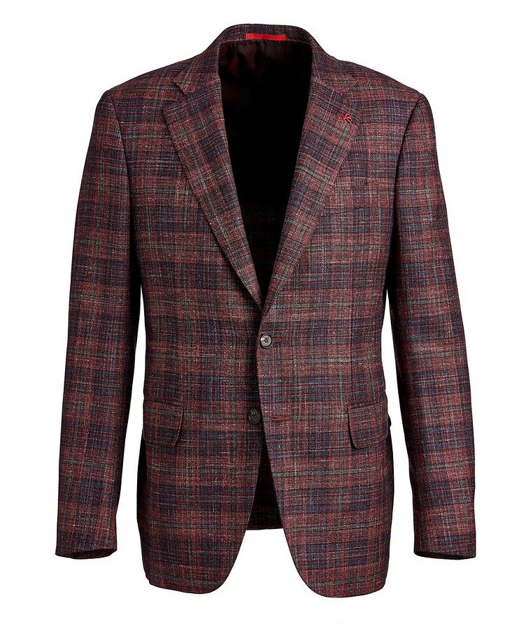 Checked Wool, Silk & Linen Sports Jacket image 0