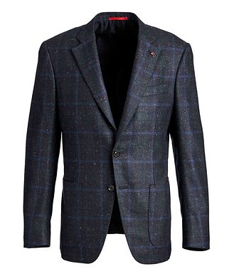 Isaia Windowpane Checked Cashmere Silk  Sports Jacket