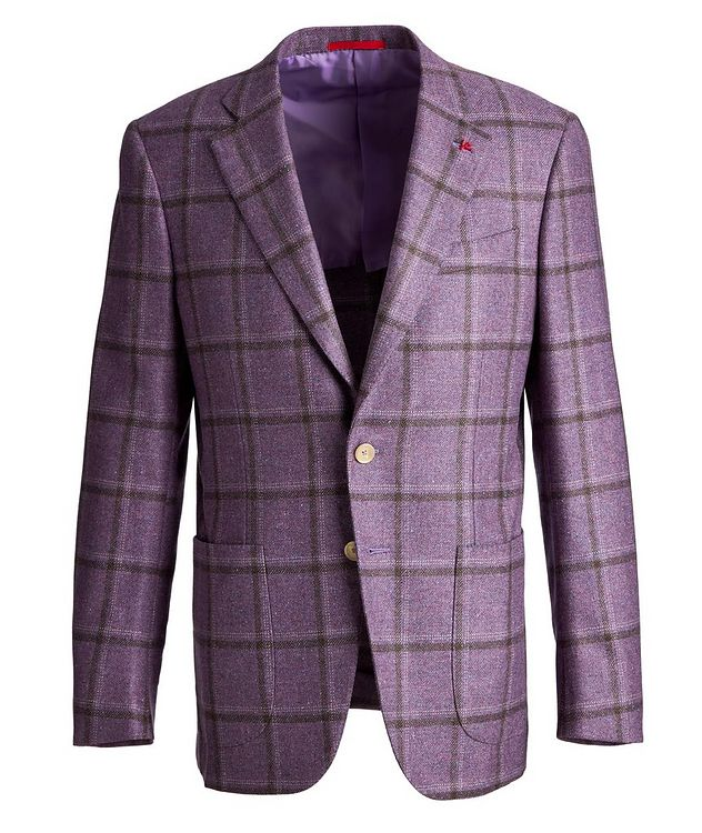 Windowpane Checked Cashmere-Silk Sports Jacket picture 1
