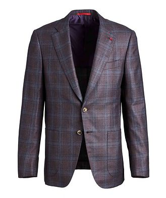 Isaia Checked Silk Cashmere Sports Jacket