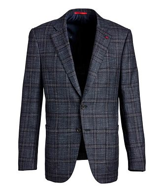 Isaia Checked Cashmere, Silk & Linen Sports Jacket