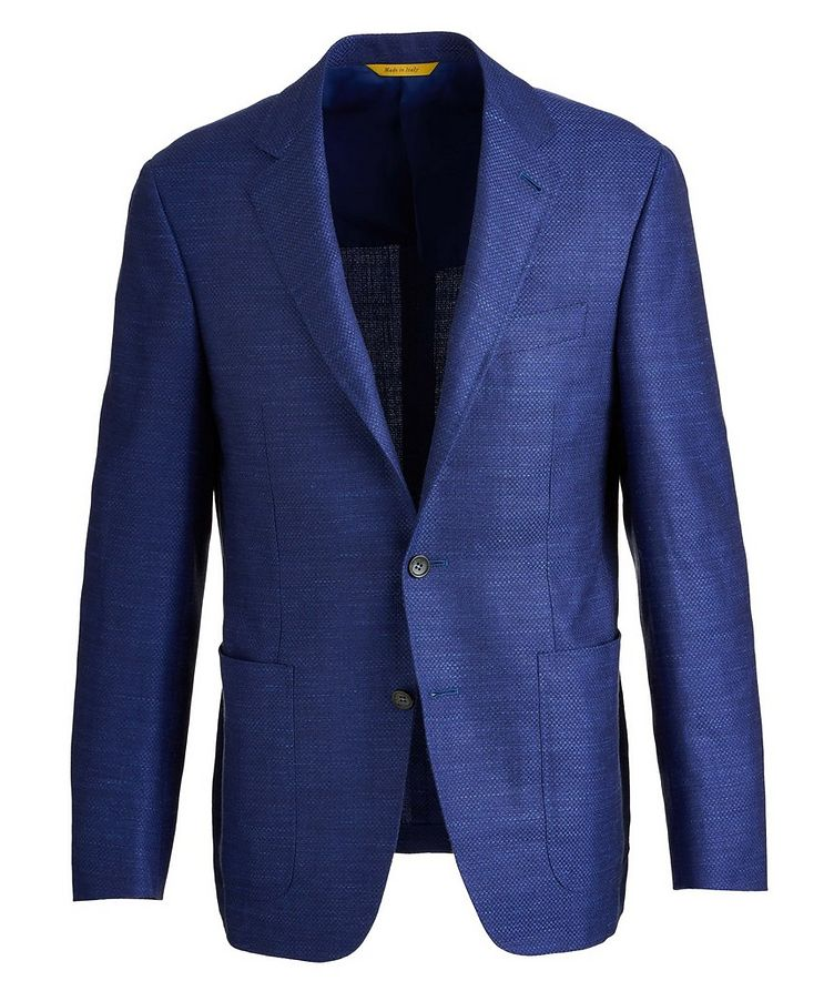 Kei Crosshatched Wool, Silk, and Linen Sports Jacket image 0