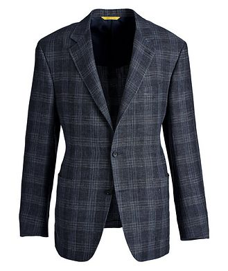Canali Kei Checked Linen-Wool Sports Jacket