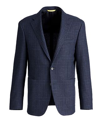 Canali Kei Checked Wool, Silk, and Linen Sports Jacket
