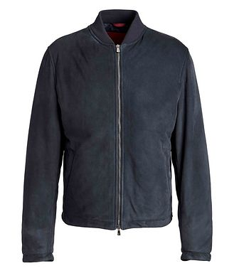 Isaia Water-Repellent Suede Bomber Jacket