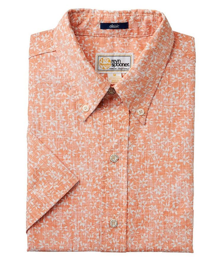 Short-Sleeve Printed Cotton-Blend Shirt image 0