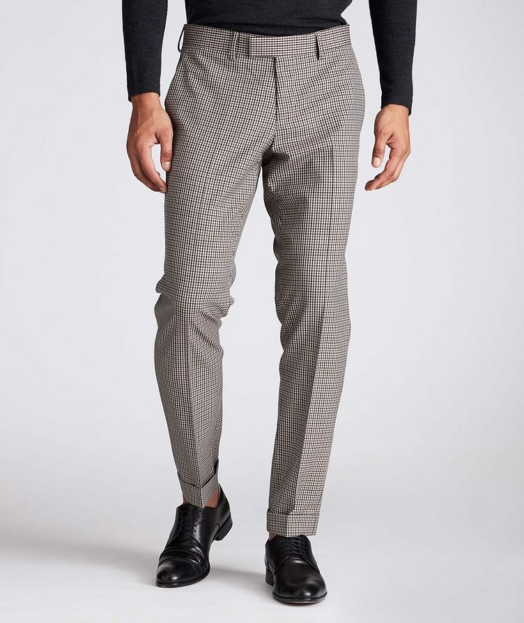Slim Fit Checkered Dress Pants image 0
