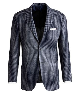 Kiton Contemporary Fit Wool, Silk, and Linen Sports Jacket