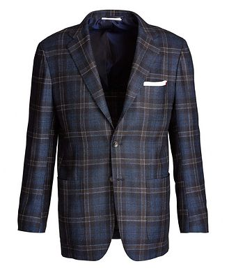 Kiton Contemporary Fit Cashmere, Silk, and Flax Sports Jacket